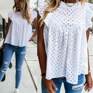 Купити білу жіночу літню блузку з прошви з рюшами (розмір 42-52) вигідно