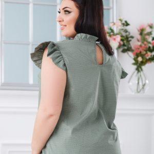 Купити оливкову жіночу блузку в горошок з рукавами-крильцями (розмір 42-56) онлайн
