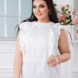 Заказать женскую белую блузку из прошвы с завязкой на спине (размер 42-52) в Украине