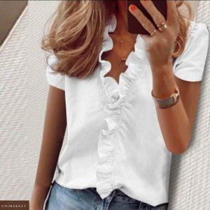 Купить молочную женскую нежную блузку с рюшами (размер 42-56) в интернете