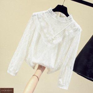 Купить женскую нежную белую блузку из кружева и хлопка выгодно