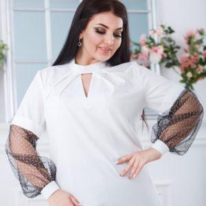 Купити білу жіночу блузку з довгими рукавами з сітки в горошок (розмір 50-56) онлайн
