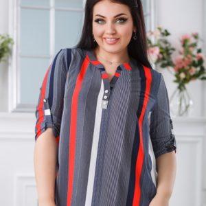 Купить серую женскую блузку в разную вертикальную полоску (размер 50-60) в Украине