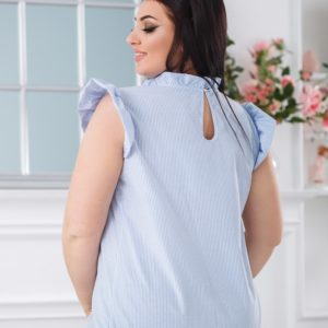 Купить женскую голубую блузку из хлопка в вертикальную полоску (размер 42-56) онлайн