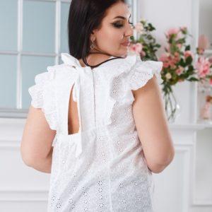 Купить женскую белую блузку из прошвы с завязкой на спине (размер 42-52) по скидке