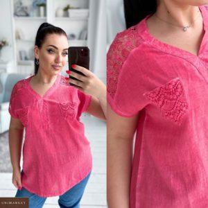 Купить коралл женскую легкую блузку из хлопка с кружевными вставками (размер 42-52) дешево