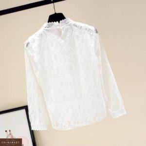 Заказать женскую нежную белую блузку из кружева и хлопка онлайн