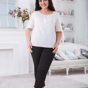 Купить женскую белую блузку с завязками на рукавах (размер 42-56) в Украине