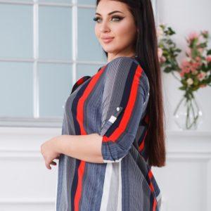 Заказать серую женскую блузку в разную вертикальную полоску (размер 50-60) по скидке