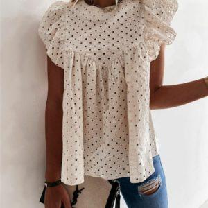 Приобрести беж женскую летнюю блузку из прошвы с рюшами (размер 42-52) выгодно