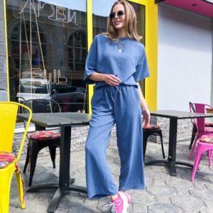Заказать женские летние брюки на резинке цвета джинс из льна жатки по скидке