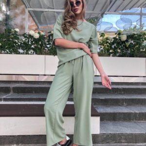 Приобрести летние оливковые брюки на резинке из льна жатки для женщин выгодно