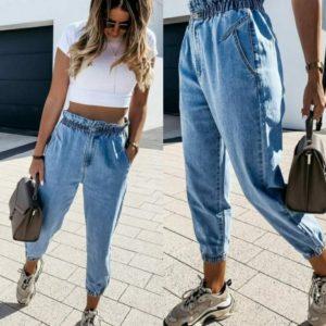 Купить голубые женские джинсы слоучи на резинке (размер 26-32) выгодно