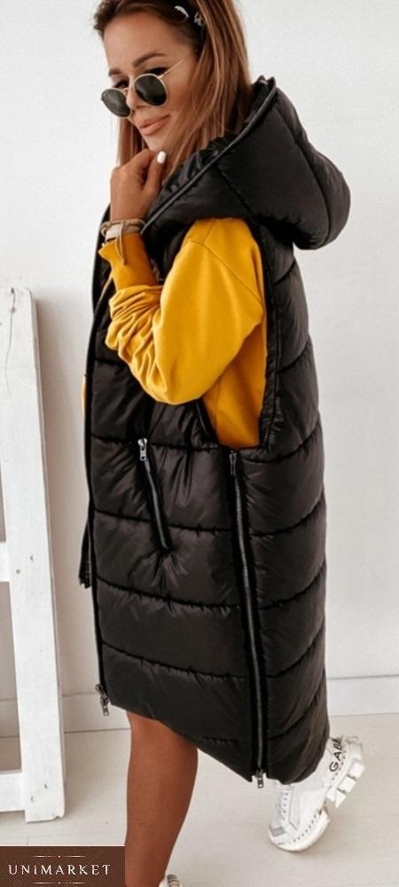 Купить черную длинную для женщин жилетку на синтепоне (размер 42-56) в Украине