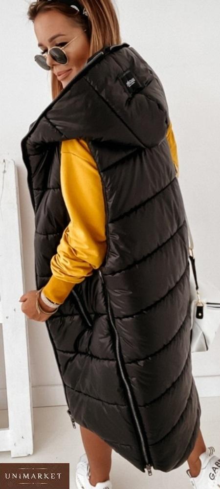 Заказать женскую длинную жилетку на синтепоне (размер 42-56) черного цвета по скидке