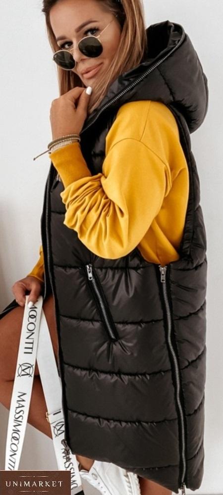 Приобрести черного цвета жилетку длинную для женщин на синтепоне (размер 42-56) онлайн