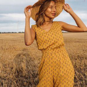 Заказать желтый комбинезон летний для женщин из вискозы в Украине