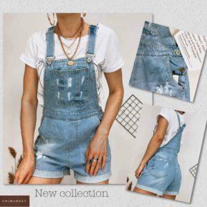 Заказать голубой джинсовый женский комбинезон с шортами по низким ценам