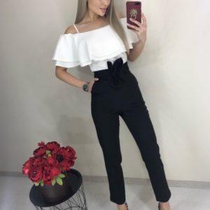 Купити жіночий брючний комбінезон з білим топом і рюшами онлайн