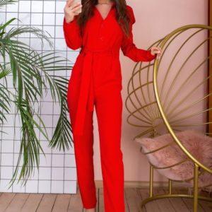Купити червоний з поясом жіночий брючний комбінезон з довгим рукавом в Україні