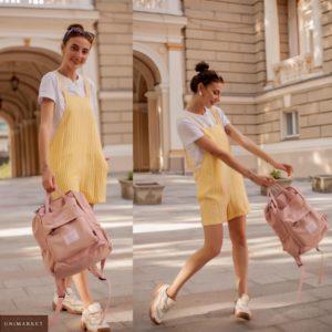 Купити жовтий жіночий літній комбінезон з натурального льону в смужку (розмір 42-48) дешево