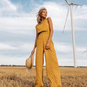 Купити гірчичний Комбінезон для жінок на літо з віскози дешево