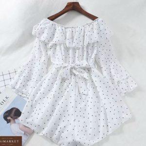 Купити жіночий на літо комбінезон в горошок білого кольору з довгим рукавом онлайн
