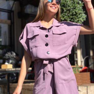 Заказать сиреневого цвета комбинезон женский на пуговицах из жатки с поясом (размер 42-48) по низким ценам