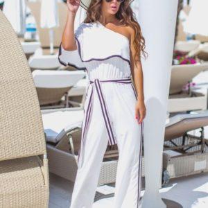 Приобрести белого цвета женский Летний комбинезон с лампасами на одно плечо (размер 42-48) по низким ценам