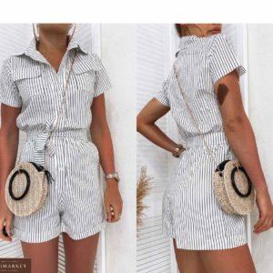 Придбати білого кольору жіночий Комбінезон в вертикальну смужку з шортами і поясом вигідно