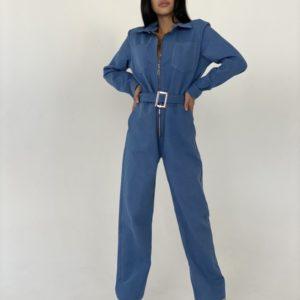 Купити світлий джинсовий жіночий комбінезон з поясом і довгим рукавом за низькими цінами