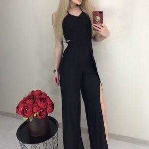 Купить черного цвета Летний комбинезон с разрезами на брюках для женщин по низким ценам