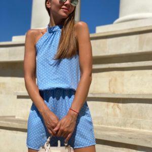 Купить голубой Летний комбинезон в горошек с открытой спиной недорого для женщин на лето