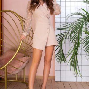 Придбати бежевий Комбінезон на запах з шортами для жінок з рукавами з сітки в Харкові вигідно