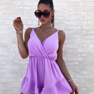 Придбати жіночий лавандового кольору з рюшами на шортах комбінезон на літо по знижці