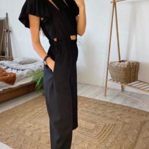 Купить черный комбинезон из льна летний для женщин с крылышками выгодно