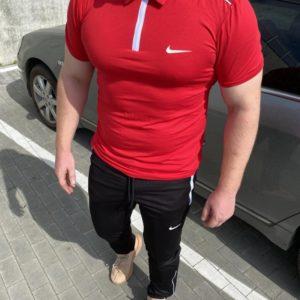 Заказать красный мужской костюм nike: штаны+поло на змейке (размер 46-54) недорого