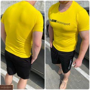 Купить желтый мужской комплект bmw motosport: футболка и шорты (размер 46-54) выгодно