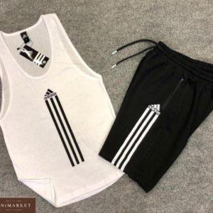 Купить белый мужской легкий костюм adidas: майка+шорты из вискозы выгодно