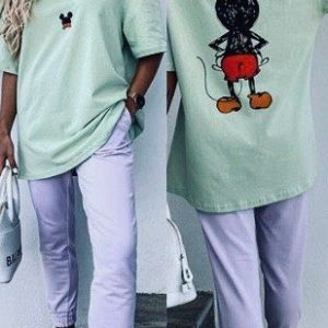Заказать фисташковый женский прогулочный костюм с принтом Микки Маус на спине онлайн