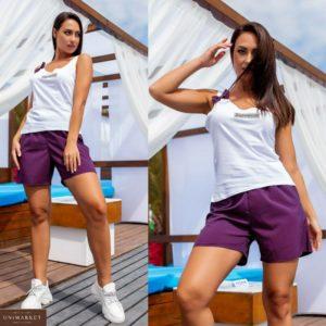 Заказать фиолетовый женский летний костюм: майка с бантиком+шорты в горошек (размер 42-56) дешево