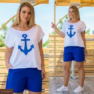 Купить белый женский летний костюм с синими шортами с принтом якорь (размер 42-56) дешево