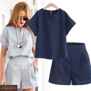 Купить серый, синий женский костюм из льна: шорты с футболкой на манжетах (размер 42-50) в Украине