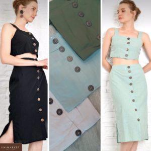 Купить белый, хаки женский костюм из льна с пуговицами: юбка миди+топ онлайн