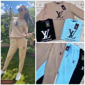 Заказать женский беж, голубой, черный онлайнкостюм прогулочный с логотипом бренда (размер 42-52) баталы по скидке