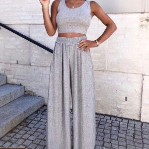 Заказать серый из трикотажа костюм для женщин топ +широкие штаны по низким ценам