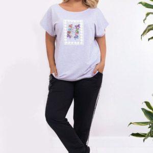 Заказать серого цвета футболка с принтом+штаны из двухнитки прогулочный костюм (размер 48-58) баталы для женщин дешево