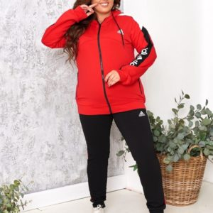 Купить красный/черный спортивный костюм женский Adidas с черными штанами (размер 48-54) выгодно