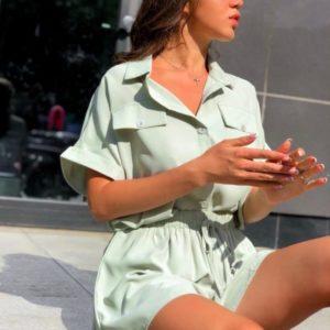 Купити фісташковий жіночий костюм: сорочка з шортами (розмір 42-48) вигідно