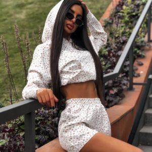 Замовити білого кольору з принтом костюм: кофта з капюшоном + шорти в Україні